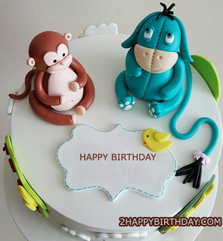Monkey birthday cake with name editor 2happybirthday for Monkey birthday cake template