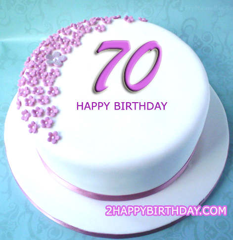 70th Birthday Cake With Name - 2HappyBirthday