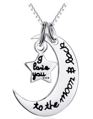 I Love You To The Moon Back Star Pendant Necklace Silver Plated