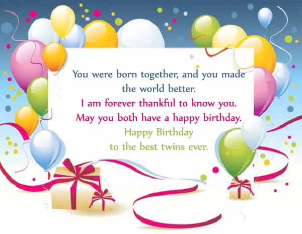 Twins Happy Birthday Wishes Quotes