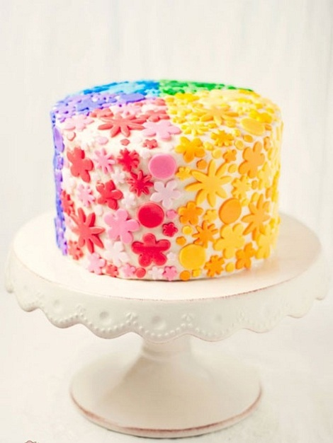 Rainbow Colorful Flower Happy Birthday Girl Cake