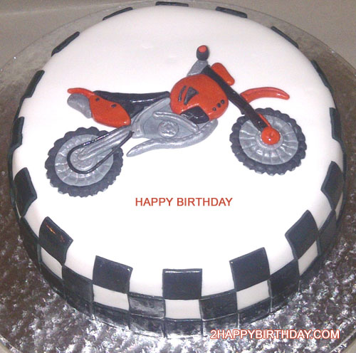 Bike Themed Birthday Cake With Kids Name