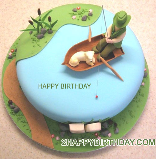Awe Inspiring Fishing Birthday Cake Image With Name 2Happybirthday Funny Birthday Cards Online Elaedamsfinfo