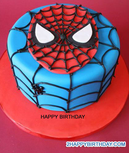 Birthday Cake Designs Spiderman : Write Name on Spiderman Themed Birthday Cake - 2HappyBirthday