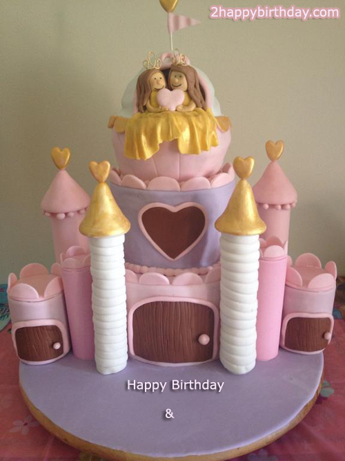 Stupendous Happy Birthday Twins Sister Birthday Cake With Name 2Happybirthday Funny Birthday Cards Online Unhofree Goldxyz