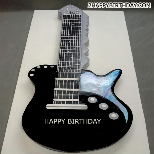 Guitar Birthday Cake With Name Editor