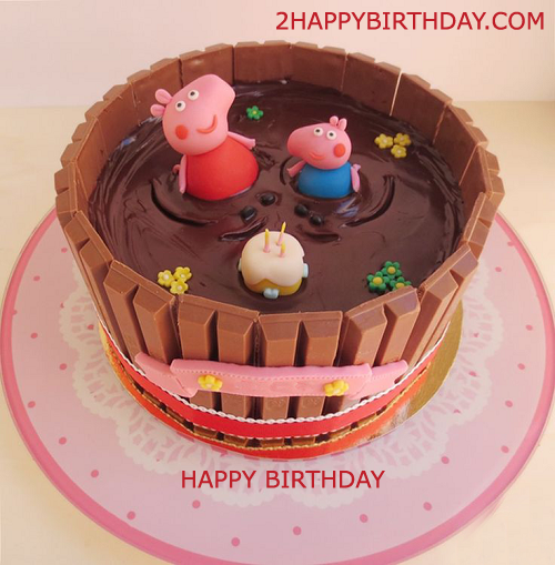 Peppa Pig Birthday Cake With Kids Name 2HappyBirthday