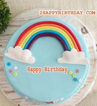 Rainbow Birthday Cake For Kids With Name 2happybirthday