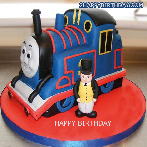Outstanding Thomas The Train Birthday Cake For Kids With Name 2Happybirthday Funny Birthday Cards Online Fluifree Goldxyz