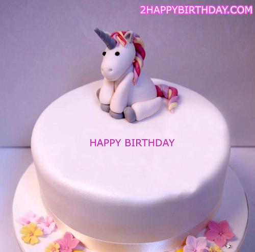 Unicorn Happy Birthday Cake With Name