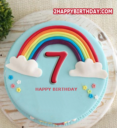 Super Happy 7Th Birthday Cake With Name 2Happybirthday Personalised Birthday Cards Epsylily Jamesorg