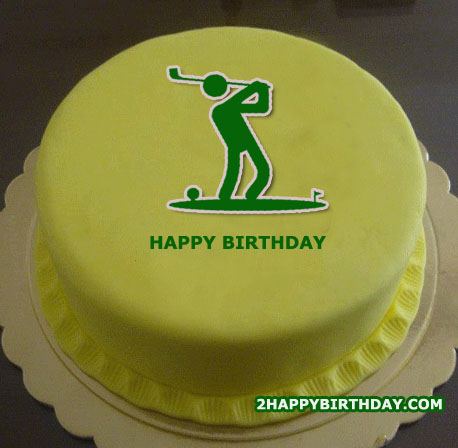 Golf Themed Birthday Cake With Name